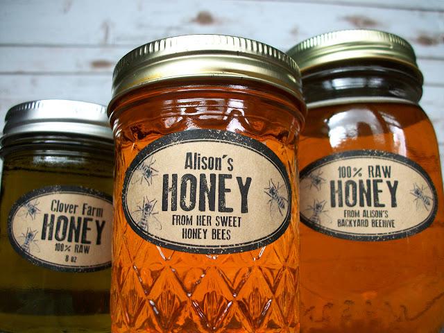 Custom Kraft Rubber Stamp Oval Honey Mason Jar Labels