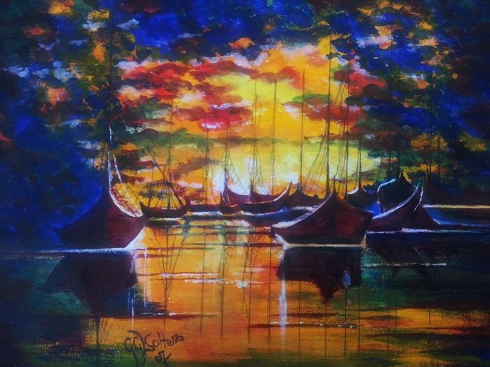 obraz malowany farbami akrylowymi na plotnie