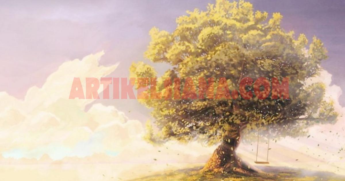 lukisan pemandangan pohon indah