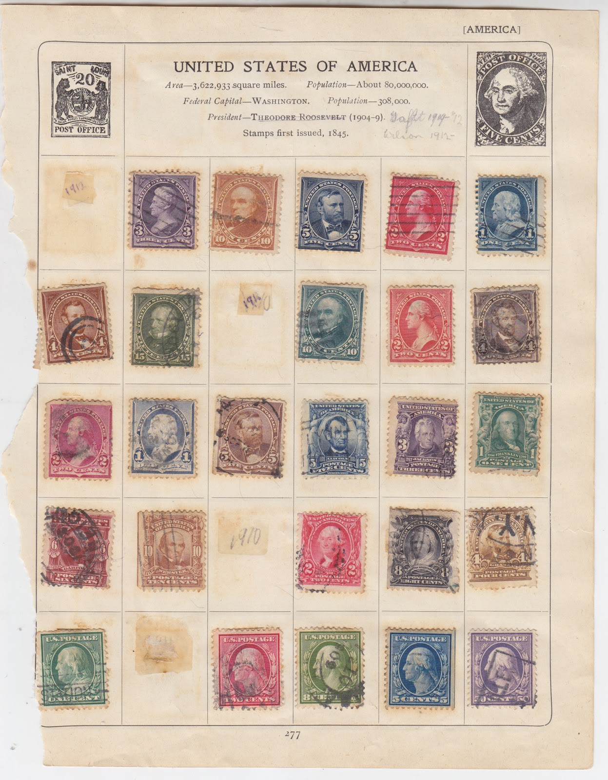 Blogart: 2 Old Postage Stamp Album Pages of Early U S  Stamps