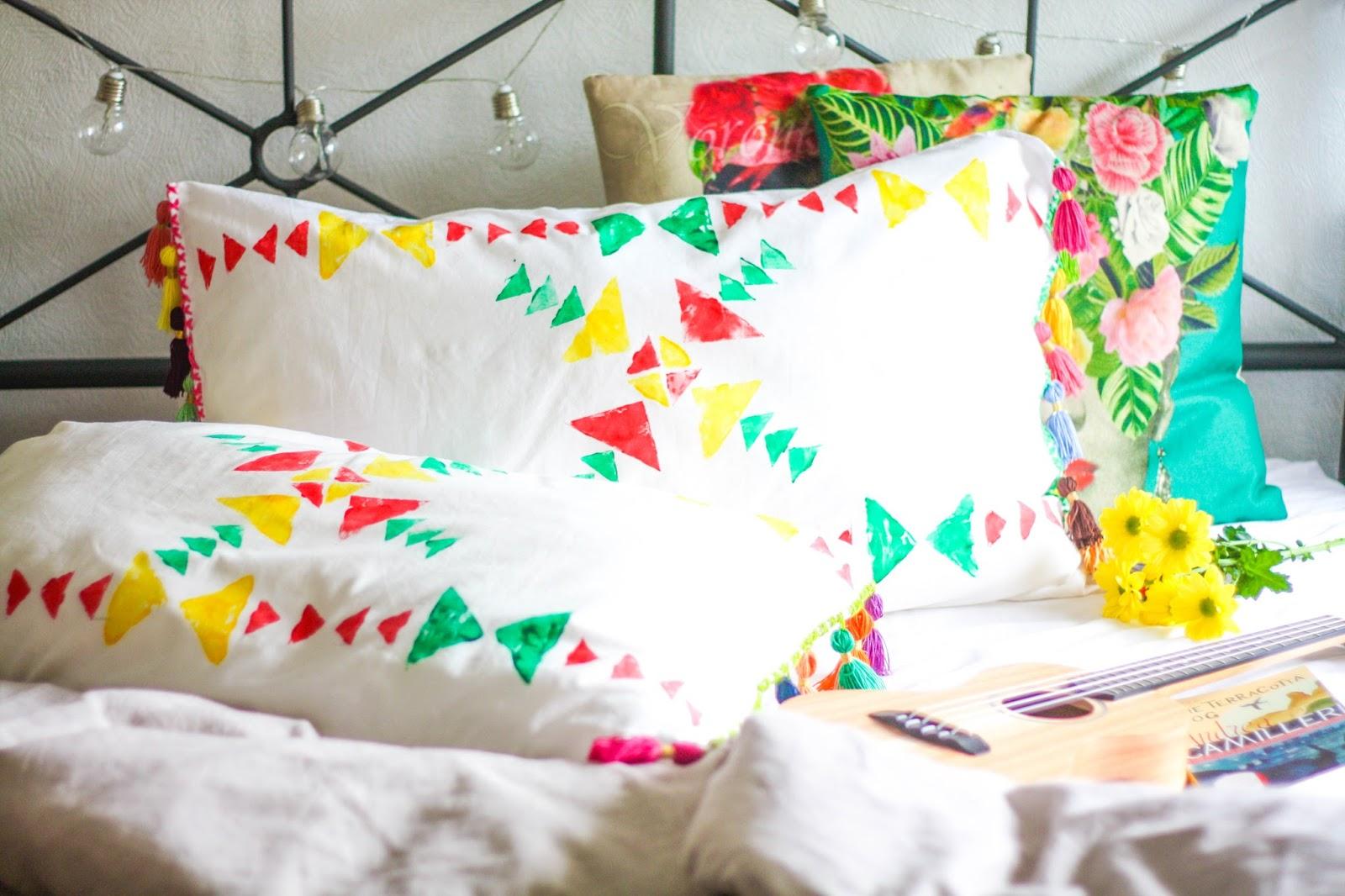 DIY bright tassel cushions and pillows