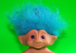 blue-haired troll doll