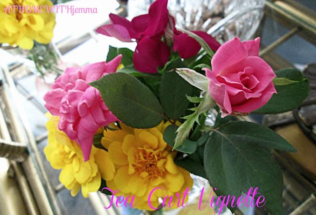 fresh flowers, pink flowers, marigolds, roses, periwinkles
