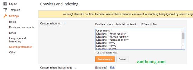 Tối ưu hóa tập tin robots.txt của Blogspot