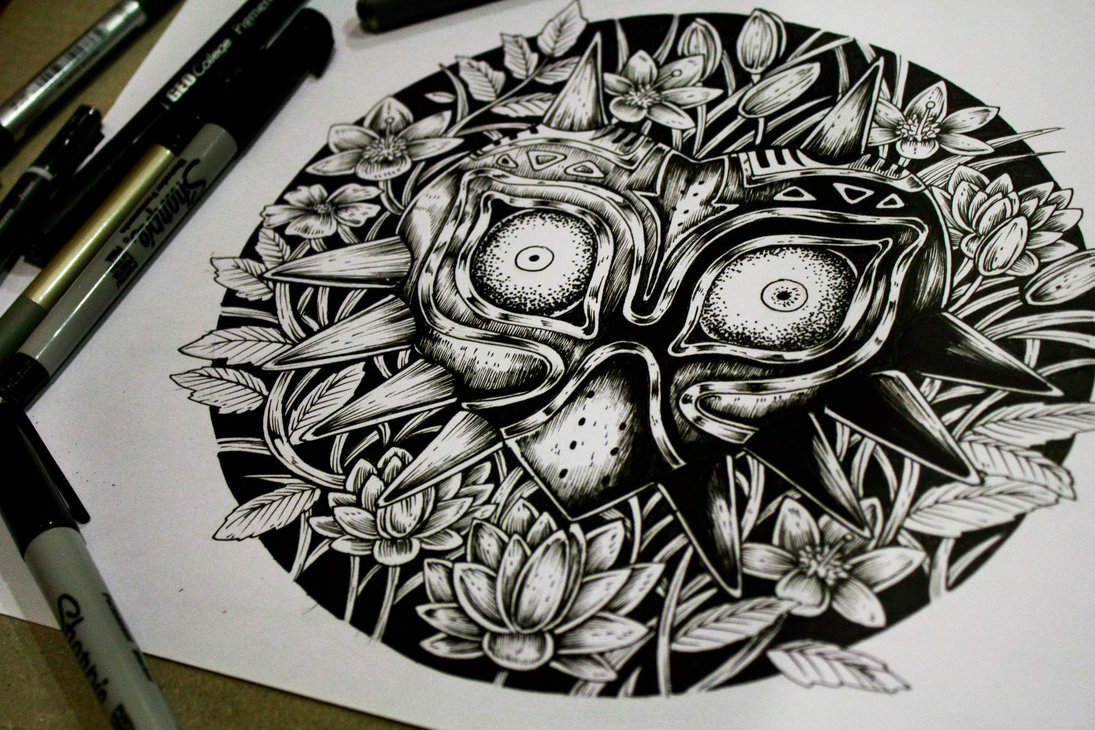 13-Majoras-Mask-Erick-M-Gonzaga-E-G-The-Freak-Drawings-of-Characters-from-the-Underworld-among-us-www-designstack-co