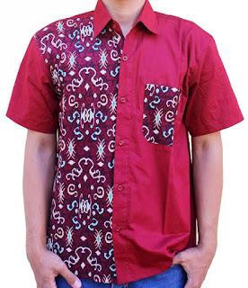 Desain model kemeja batik pria kombinasi modern