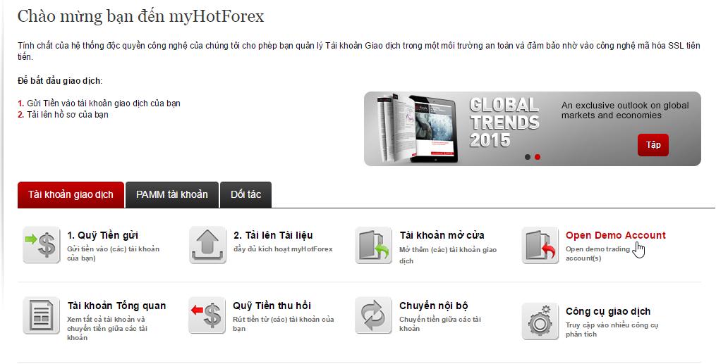 Mở tài khoản Demo HotForex