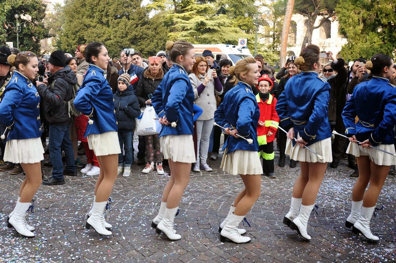 Majorettes dancing at the parade at Verona Carnival