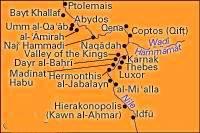 Sitios asociados con Egipto desde Predynastic a tiempos bizantinos, región de Tebas.
