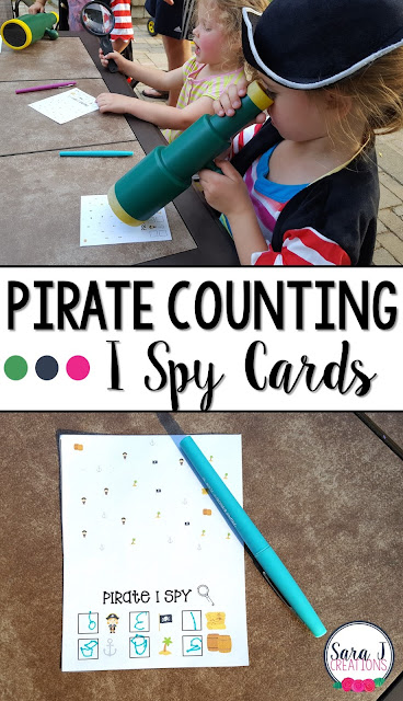 Free pirate themed I Spy Counting Cards!  I love these for engaging students in preschool and kindergarten and helping them practice counting.