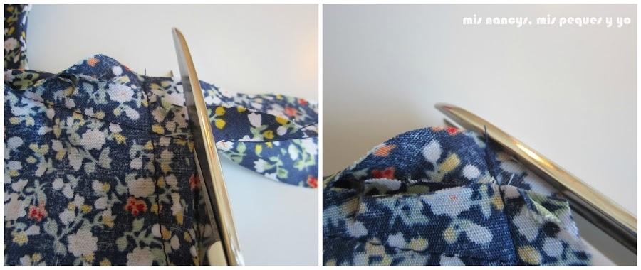mis nancys, mis peques y yo, tutorial blusa sin mangas niña (patrón gratis), cortar sobrante bies