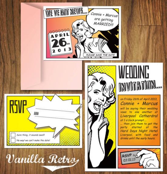 superhero wedding stationery, vanilla retro etsy
