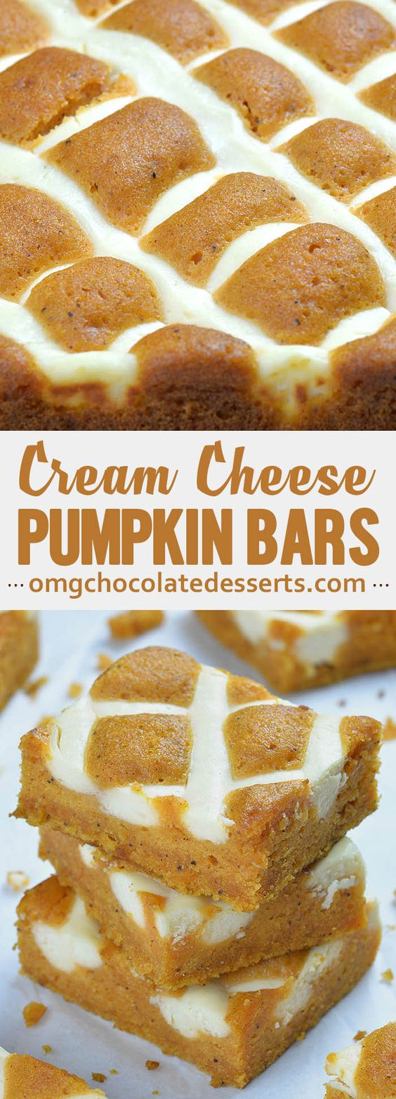 Pumpkin Bars with Cream Cheese is simple and easy dessert recipe for fall baking season. Moist and spicy pumpkin bars are delicious breakfast or snack. But this crowd-pleasing treat is fancy enough to be served as a dessert at Halloween party or as light and easy dessert after Thanksgiving dinner.
