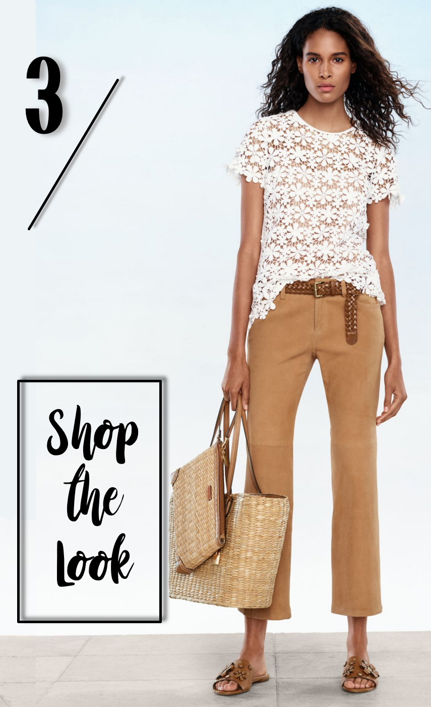 MICHAEL MICHAEL KORS Floral Lace Top, Izzy Cropped Flare, Malibu Clutch, Malibu Tote, Tara Leather Slide