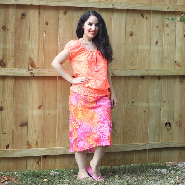 Orange Tropical Print Skirt