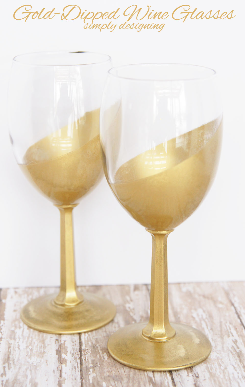 Gold-Dipped Wine Glasses | #gold #golddipped #glasses #diy #craft