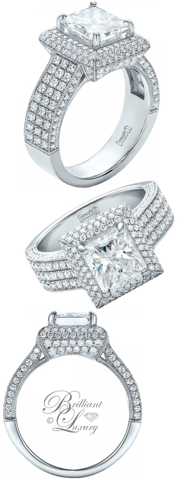 Brilliant Luxury ♦ Joseph Jewelry Custom Micro-Pave Halo Diamond Engagement Ring