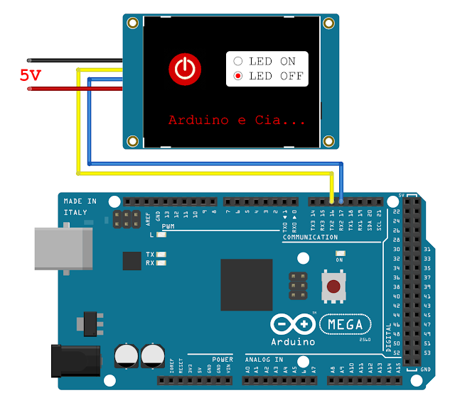 Circuito Display Nextion e Arduino Mega