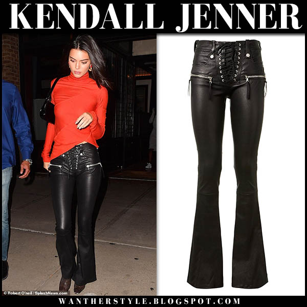 Kendall Jenner in red top and black leather flare pants unravel model night out style october 9