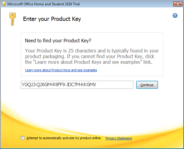Office 2010 Home and Student trial
