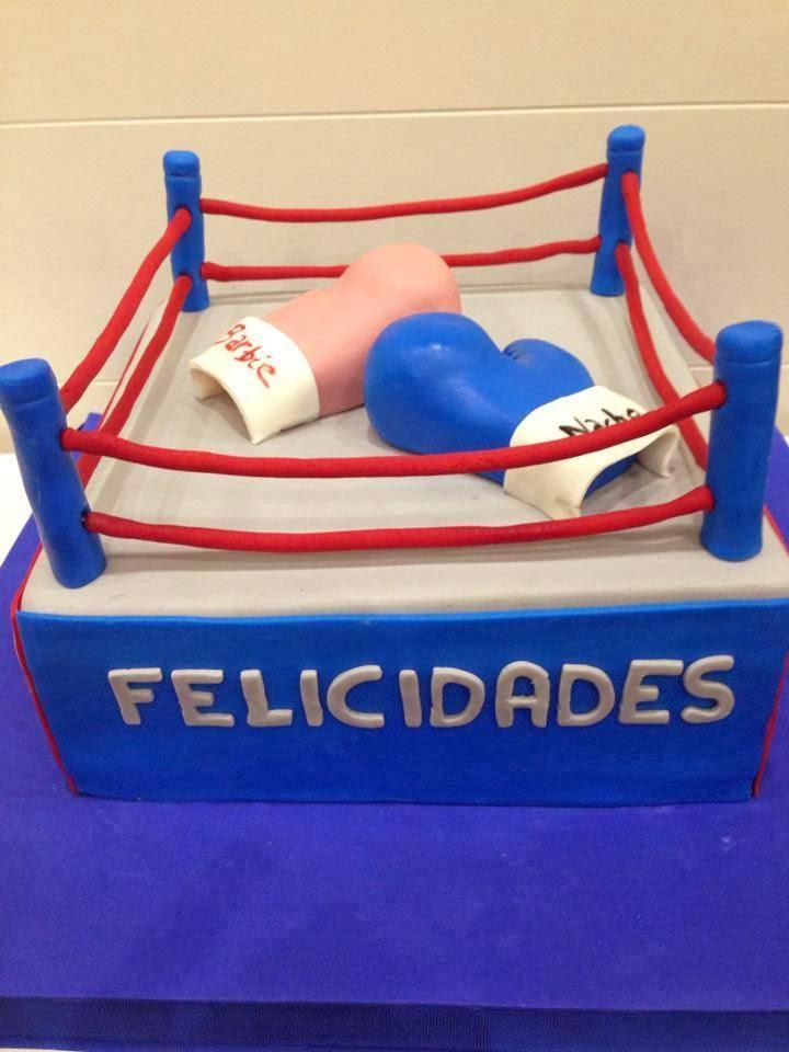 Tarta ring boxeador guantes everlast fondant