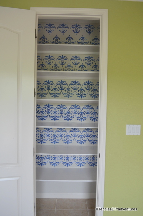 Stenciling Kitchen Pantry