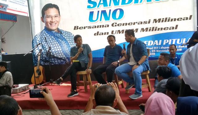 Sandiaga Uno berdialog dengan masyarakat Lumajang
