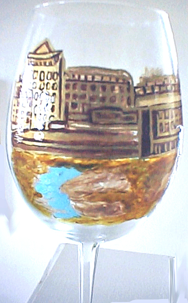 hand painted wine glass of St. Malo in France