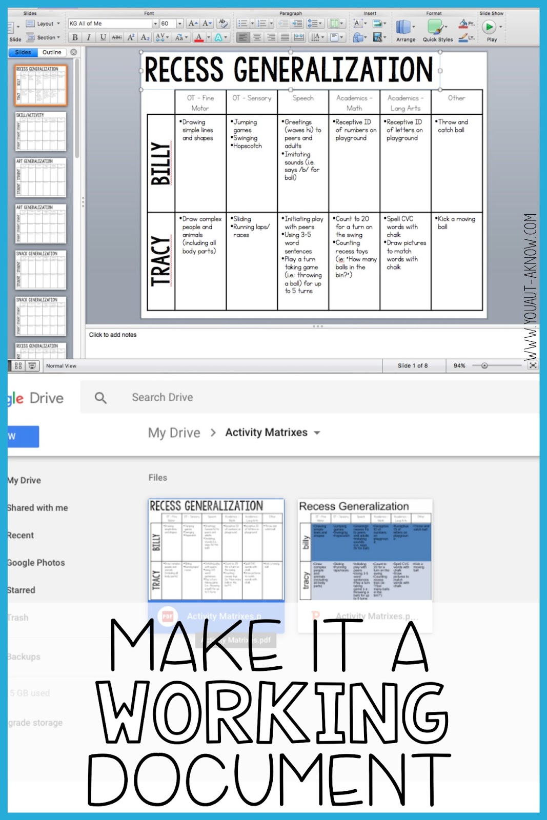 Keeping your activity matrix as a working document makes it easy for all staff members to go in and make changes as students make progress towards IEP goals.