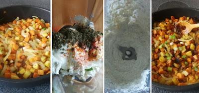 Zubereitung Gemischtes Pfannengemüse mit Feta-Joghurt-Zatar-Dip