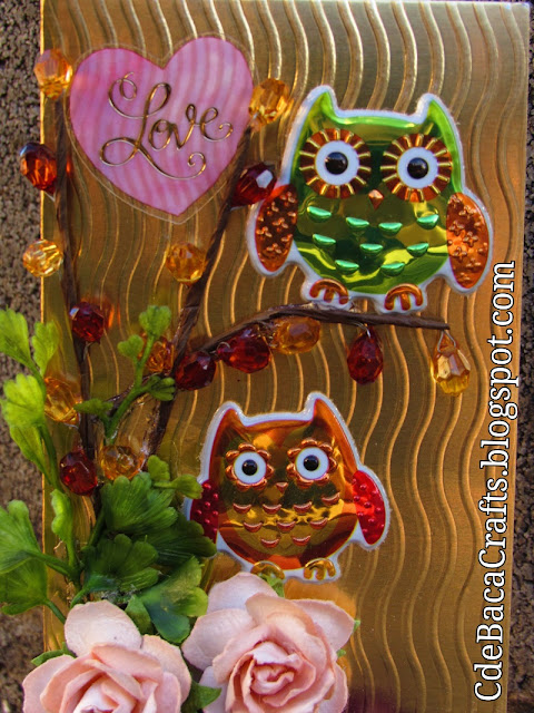 A Cute Handmade Card with Owl Stickers, Flowers, and Beads made by CdeBaca Crafts.