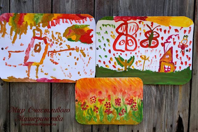 краски осени в детских рисунках