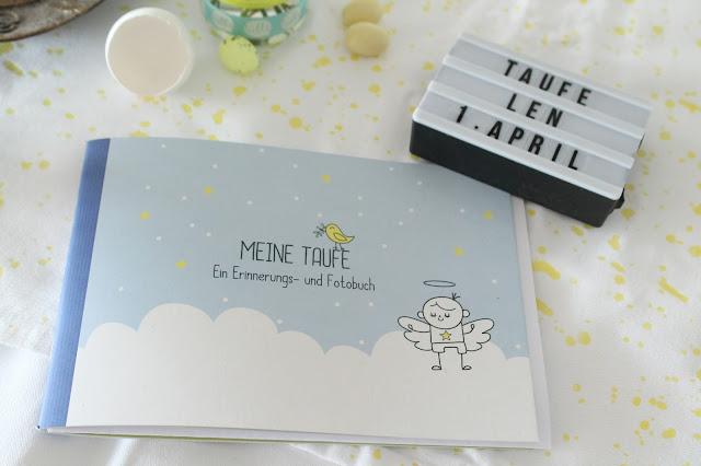 Erinnerungsbuch Taufe Junge Deko DIY Idee Geschenkidee Blumen Tischdeko Jules kleines Freudenhaus