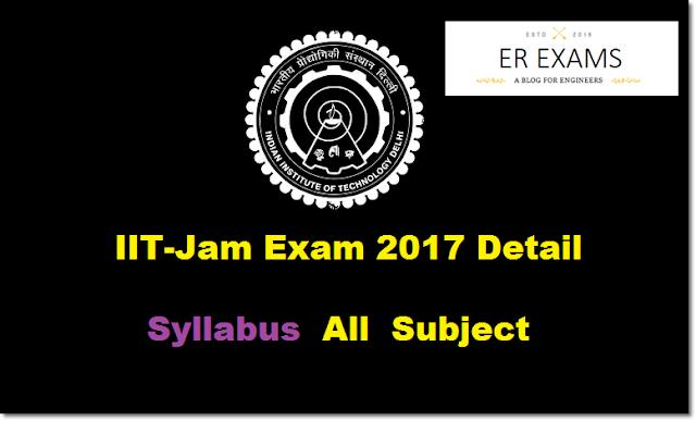 IIT-Jam Exam 2017 Detail  Syllabus  All  Subject