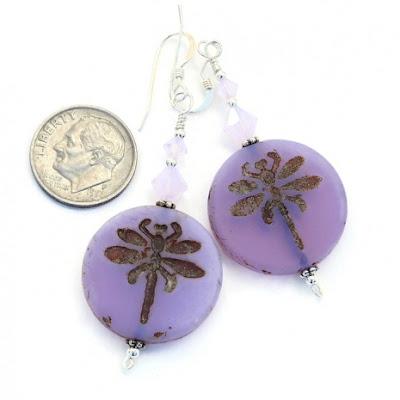 czech glass dragonfly earrings for her