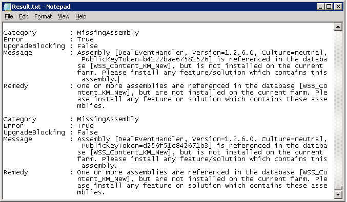 """Fix """"MissingAssembly"""" Errors of Test-SPContentDatabase in SharePoint 2013 Migration"""