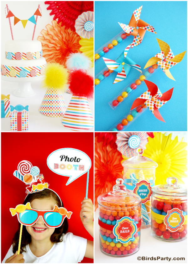 Candyland Birthday Party Ideas with FREE printables - BirdsParty.com