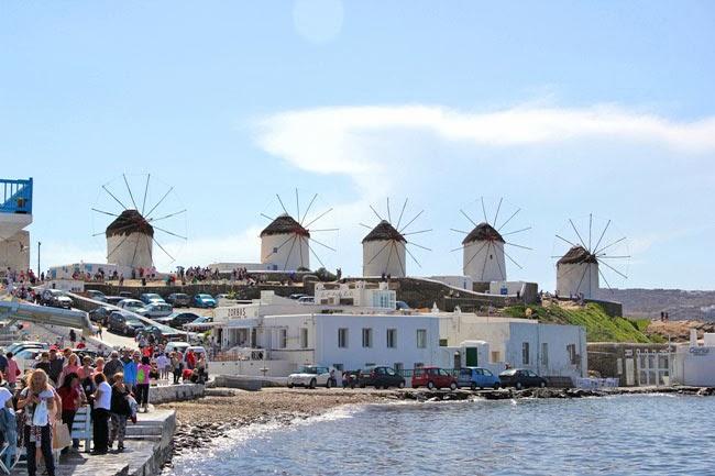 Mykonos windmills view from Little Venice