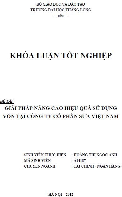 Giải pháp nâng cao hiệu quả sử dụng vốn tại Công ty Cổ phần Sữa Việt Nam