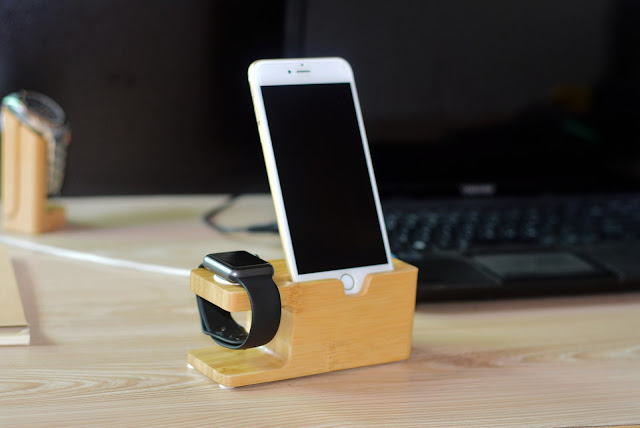 Apple Watch Stand Charging Dock Bamboo Charge Station Cradle for Apple Watch & iPhone fits iPhone 5 / 5S / 5C / 6 / 6 Plus and 38mm & 42mm Watch Models