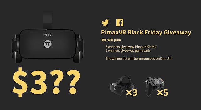 【PIMAX】ブラックフライデーセール開催!339ドルで4Kのヘッドセット!フォロー&RTで当たるキャンペーンも!