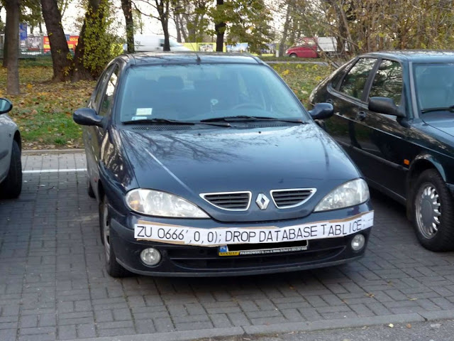 Funny example of using car plate  to do SQL injection into traffic camera database