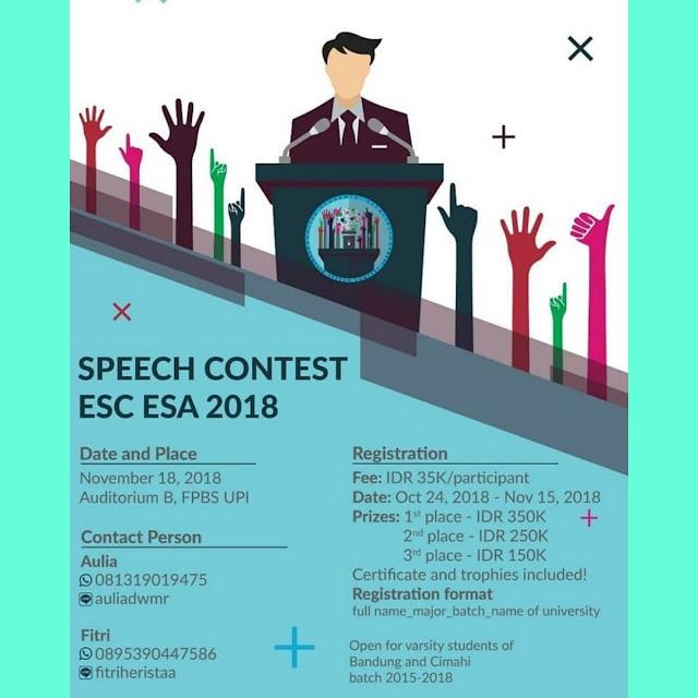 Lomba Speech Contest ESC ESA 2018 Mahasiswa