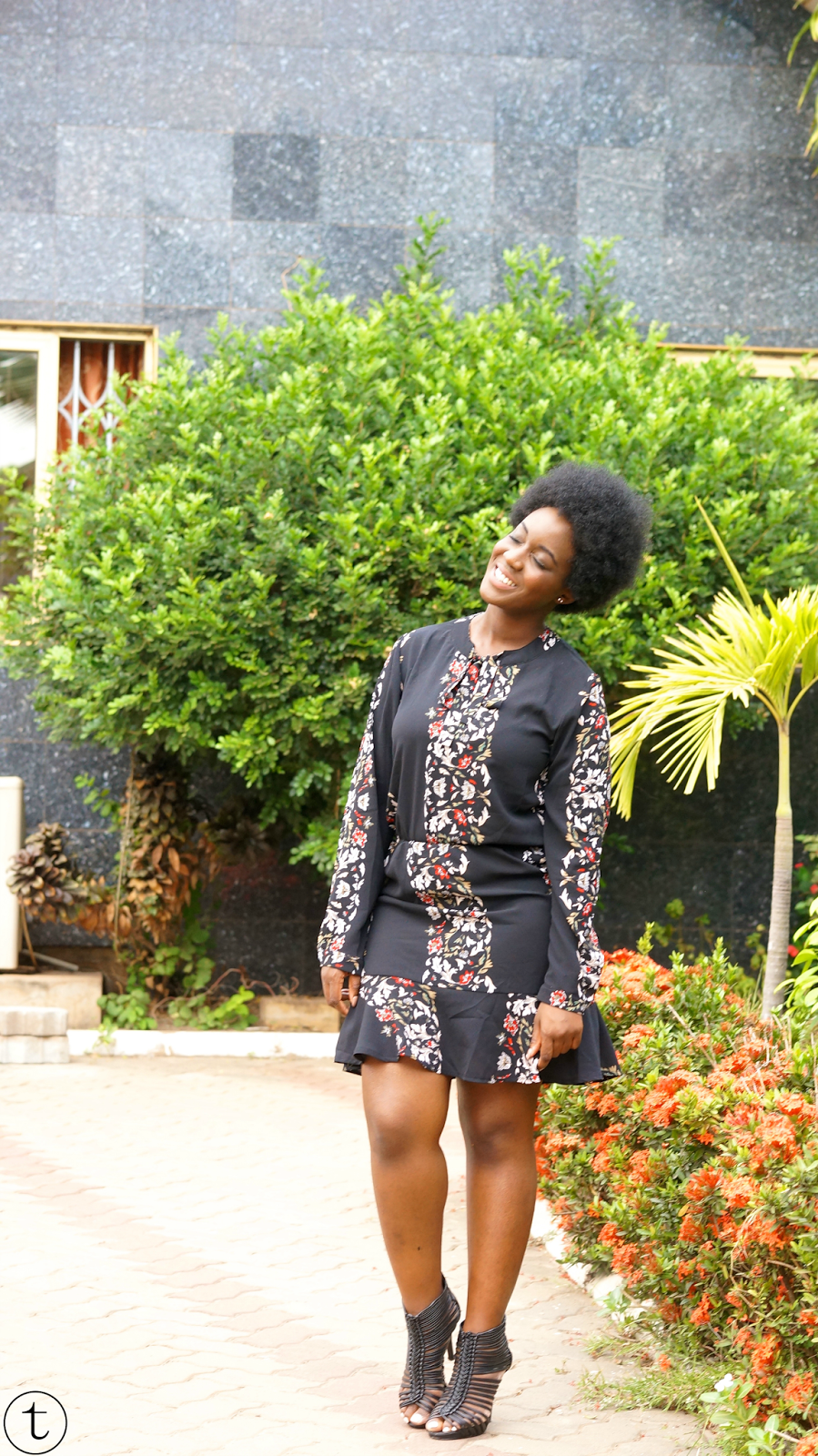 black dress with floral prints from pretty little thing outfit