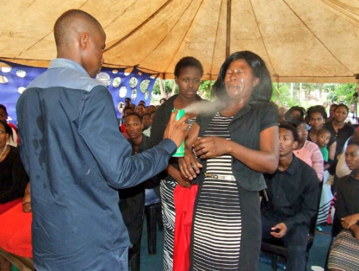 South African Prophet, Lethebo Rabalago uses insecticide to 'heal' church members