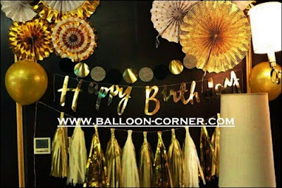 Bunting Garland HAPPY BIRTHDAY Warna Gold / Emas