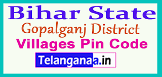 Gopalganj District Pin Codes in Bihar State