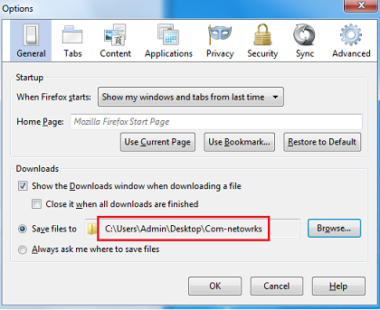 Change Default Download Location in Mozilla Firefox