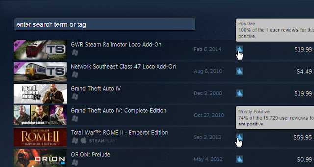 Rating Games Steam
