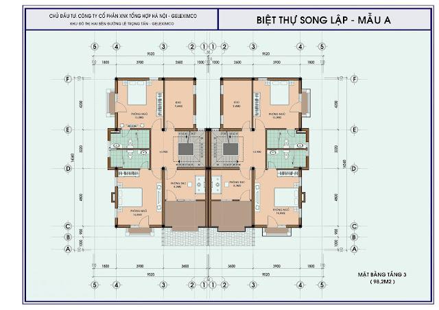 Mặt bằng thiết kế tầng 3 biệt thự song lập mẫu A, Geleximco